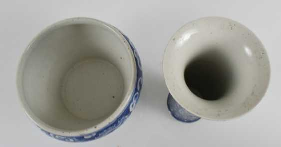 Two vases made of porcelain, with decoration of dragons among the clouds, - photo 2