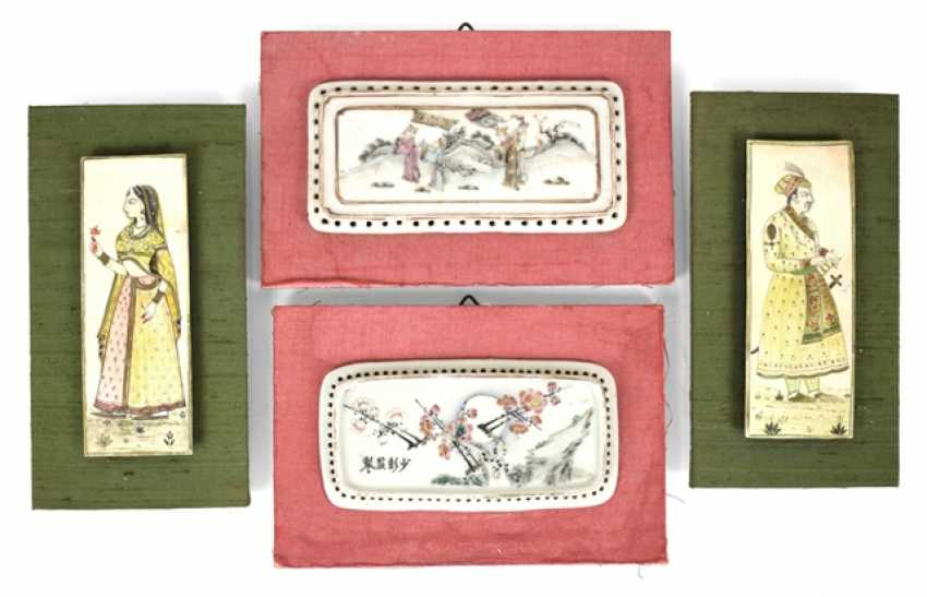 Two miniature paintings, and two porcelain plaques - photo 1