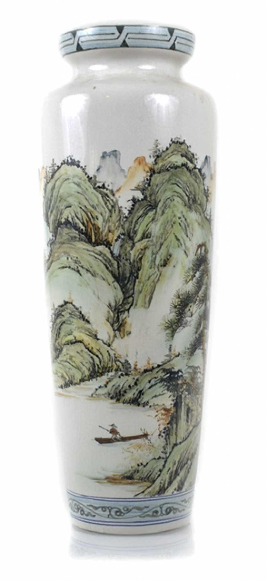 Floor vase made of porcelain with inscription and landscape decoration - photo 1