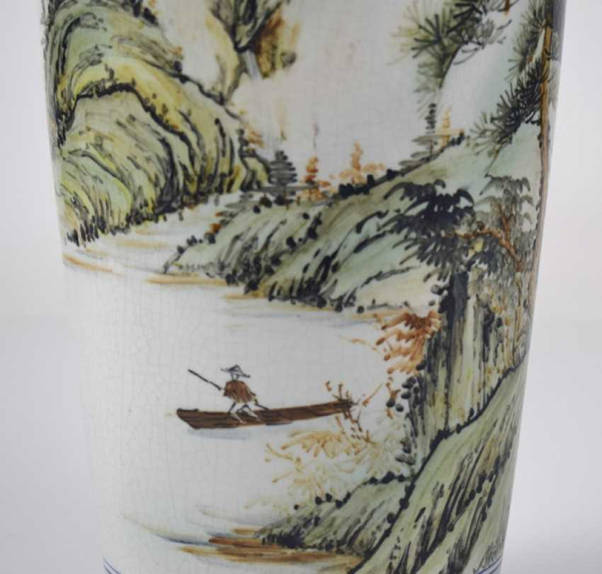 Floor vase made of porcelain with inscription and landscape decoration - photo 2