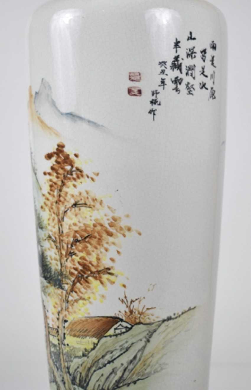Floor vase made of porcelain with inscription and landscape decoration - photo 3