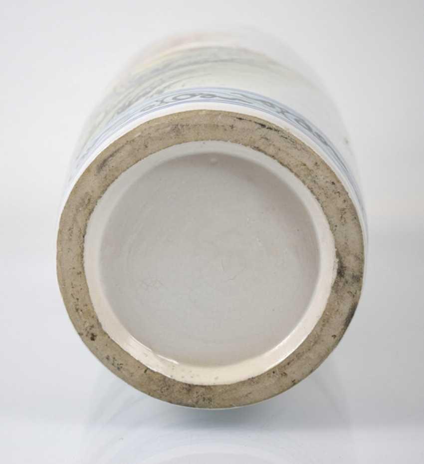 Floor vase made of porcelain with inscription and landscape decoration - photo 5