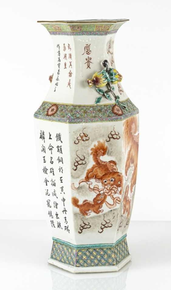 Hexagonal Vase with lion decoration and plastic pomegranates - photo 3