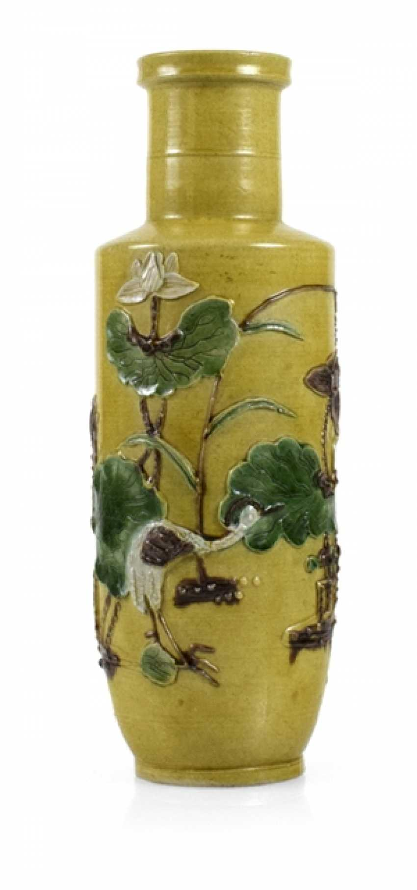 Yellow basis Vase with relief decoration of Lotus and cranes - photo 1