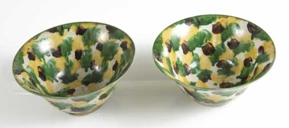 Pair of porcelain bowls with a 'Spinach and Egg'glaze - photo 2