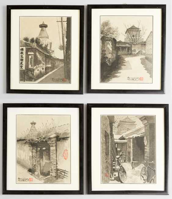 Lot of four views of old Beijing with views of streets by buddhistic monuments - photo 1