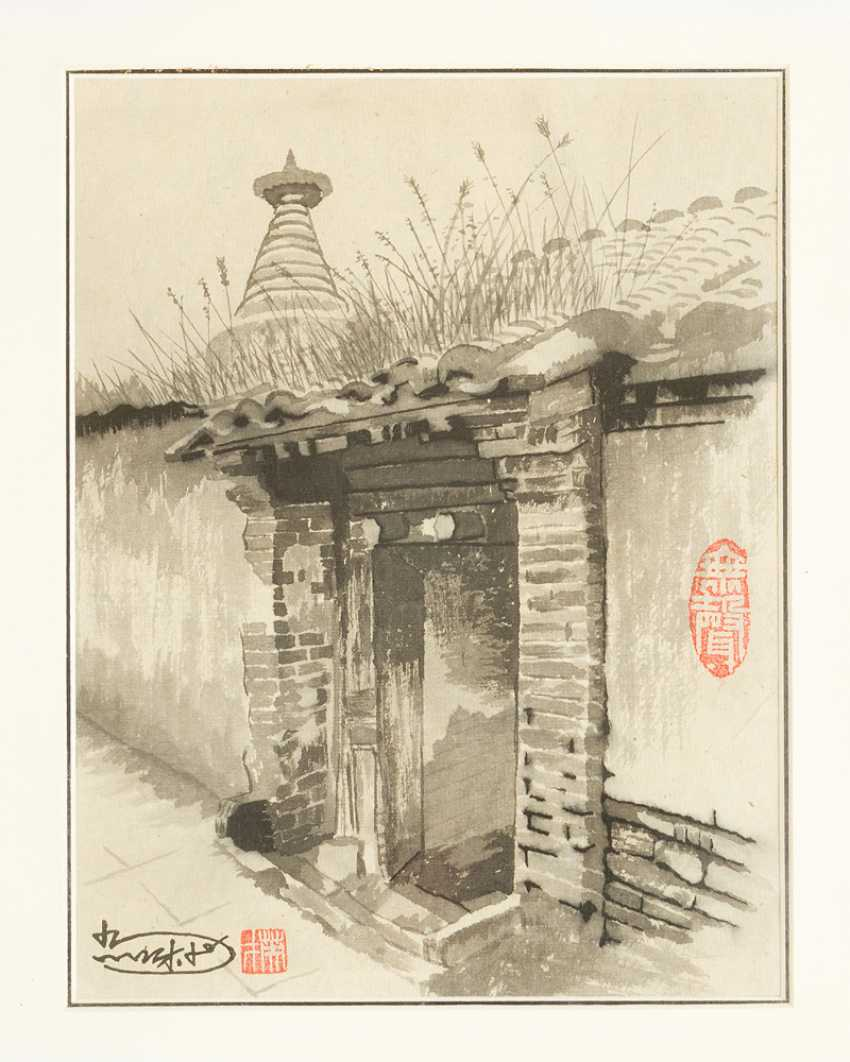 Lot of four views of old Beijing with views of streets by buddhistic monuments - photo 2