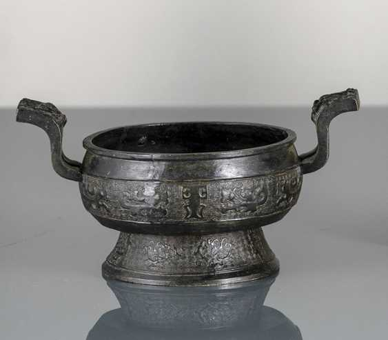 Incense burner from Bronze in archaic style with side Handle - photo 1