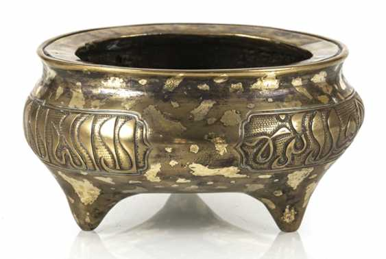 Incense burner with Arabic inscriptions and gold spots from Bronze - photo 1
