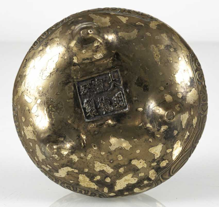 Incense burner with Arabic inscriptions and gold spots from Bronze - photo 4