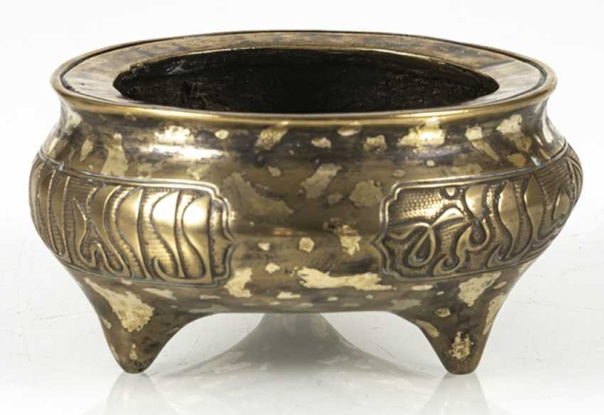 Incense burner with Arabic inscriptions and gold spots from Bronze - photo 6