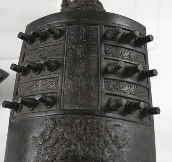 Six bells from Bronze in archaic style, with hard wood Stand - photo 3