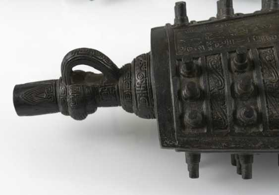 Six bells from Bronze in archaic style, with hard wood Stand - photo 4