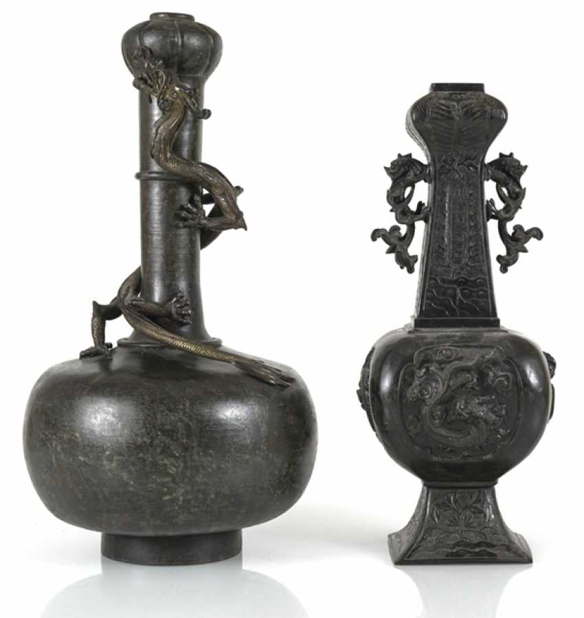 Two bronze vases with dragons in Relief - photo 1