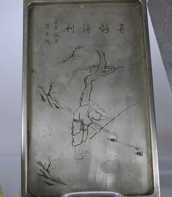 Group of seven trays made of metal, such as Tin, brass or Paktong, an engraved - photo 4