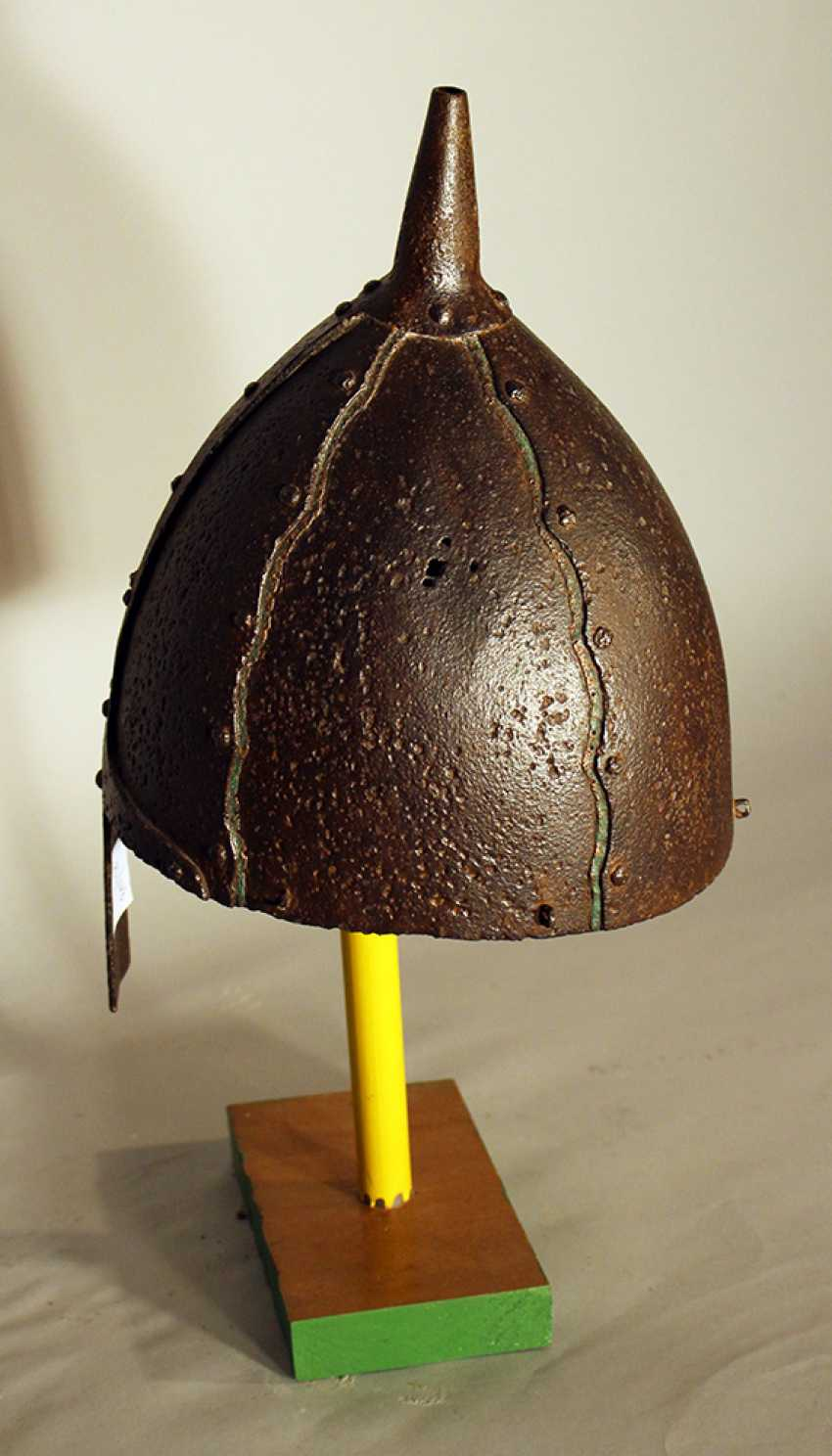 Ottoman warrior's iron helmet, forged, with nose protection - photo 3