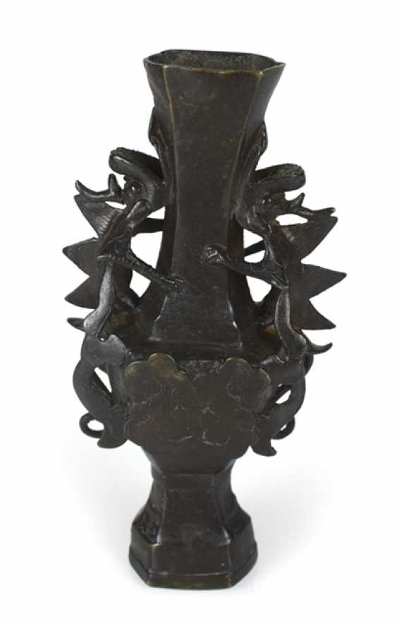 Vase made from Bronze in archaic style, with plastic dragons and clouds in Relief - photo 1