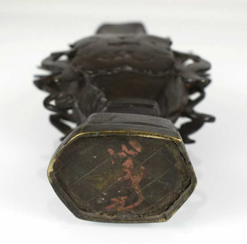Vase made from Bronze in archaic style, with plastic dragons and clouds in Relief - photo 3