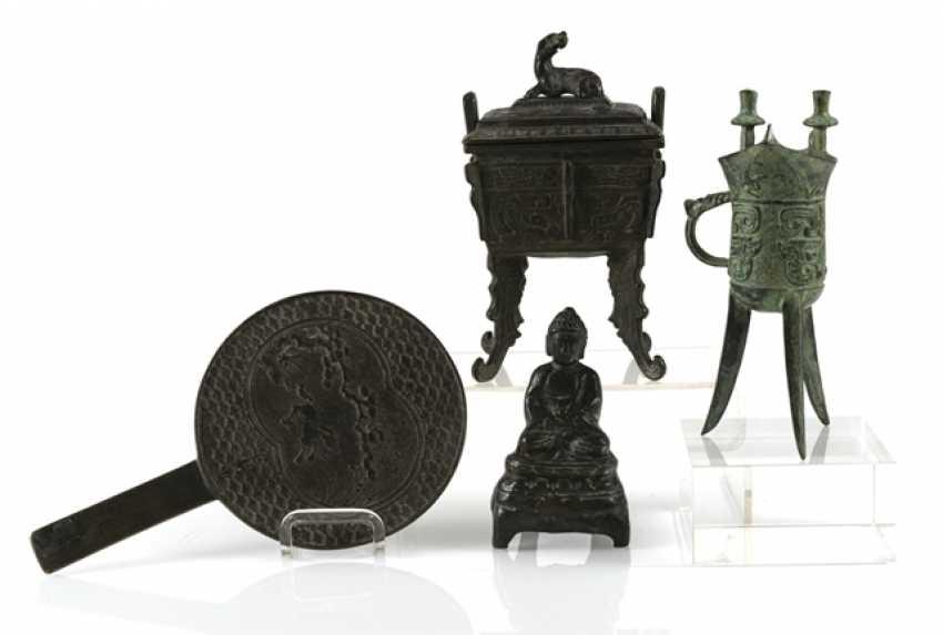Hand mirror, Jue, incense burners and Buddha made of Bronze - photo 1