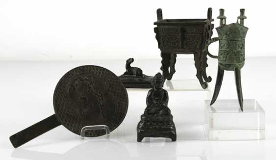Hand mirror, Jue, incense burners and Buddha made of Bronze - photo 5