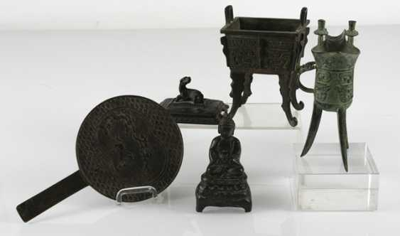 Hand mirror, Jue, incense burners and Buddha made of Bronze - photo 6