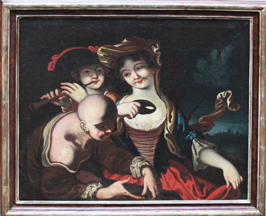 Venetian school 18th Century, Elegant lady with mask, flute player and a servant in landscape - photo 1