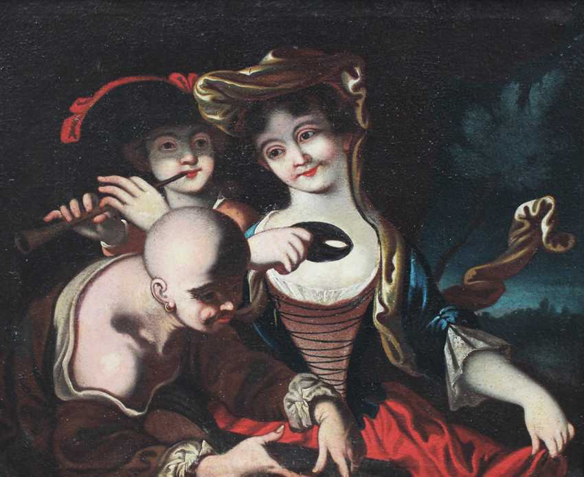 Venetian school 18th Century, Elegant lady with mask, flute player and a servant in landscape - photo 2