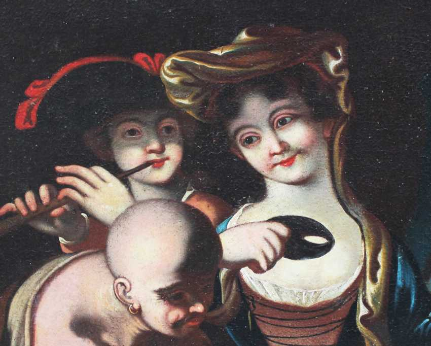 Venetian school 18th Century, Elegant lady with mask, flute player and a servant in landscape - photo 3