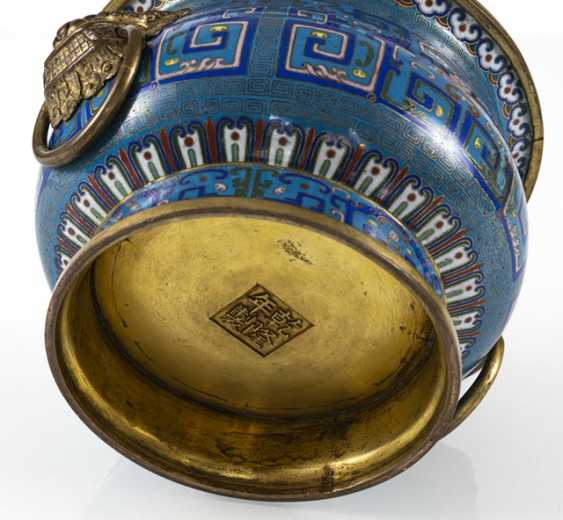 Partially fire-gilded Cloisonné incense burner in archaic style with Handle - photo 3