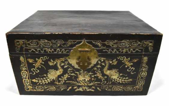 Leather chest with inlaid peacock decor - photo 1