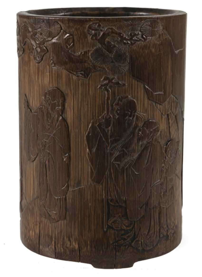 Finely carved brush Cup made of bamboo with a scholar and servant boy - photo 1