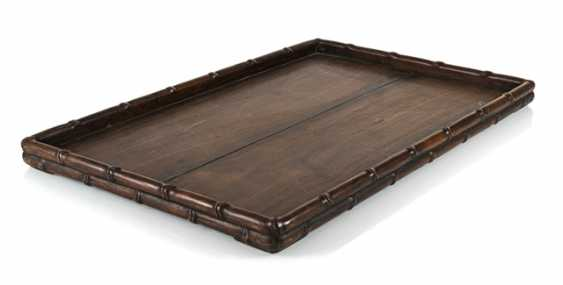Tray made of hard wood, with a bar carved in bamboo - photo 1