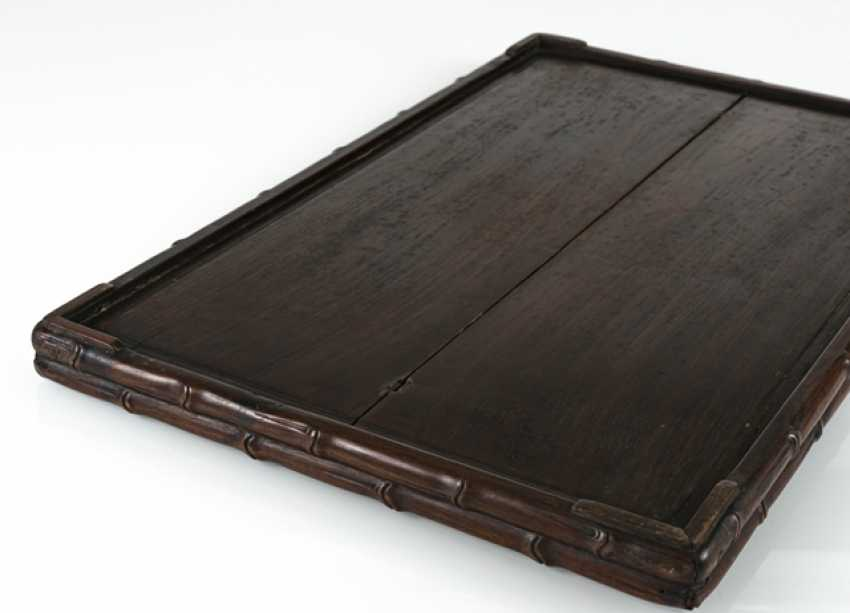 Tray made of hard wood, with a bar carved in bamboo - photo 3