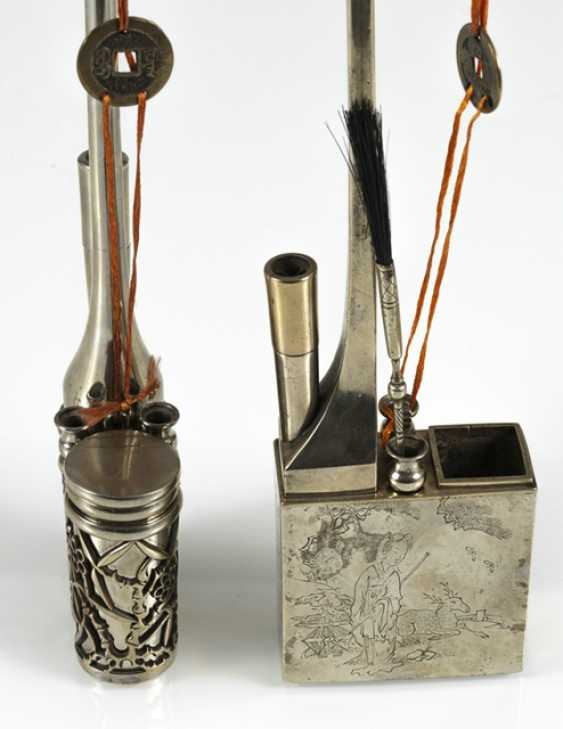 Group of seven opium pipe Paktong - photo 4