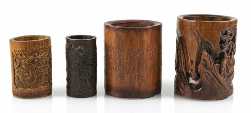 Four brush Cup made of bamboo, and partly with inscription - photo 3