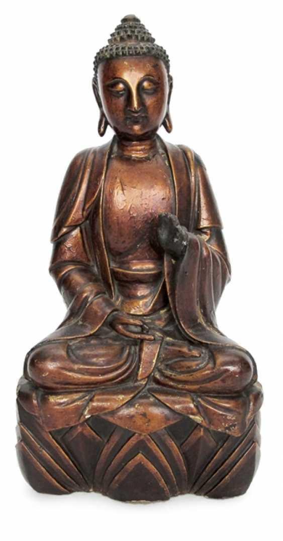 Lacquer gilt wood figure of Buddha - photo 1