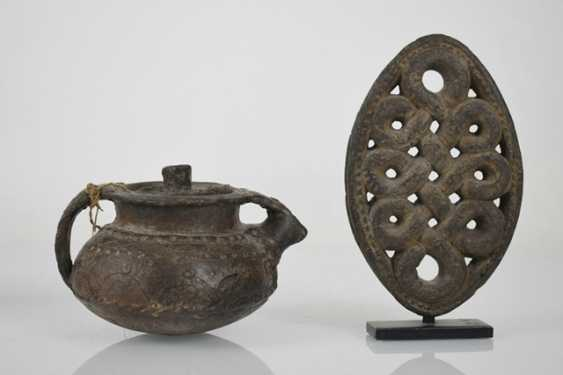 Two vessels, an Ornament on a Stand and a prayer roll stand - photo 6