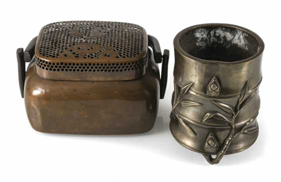 Hand-warmer made of copper, and paint cups in the shape of a bamboo segment from Bronze - photo 1