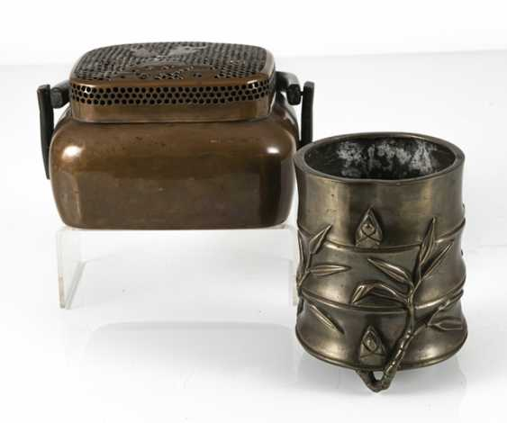 Hand-warmer made of copper, and paint cups in the shape of a bamboo segment from Bronze - photo 2