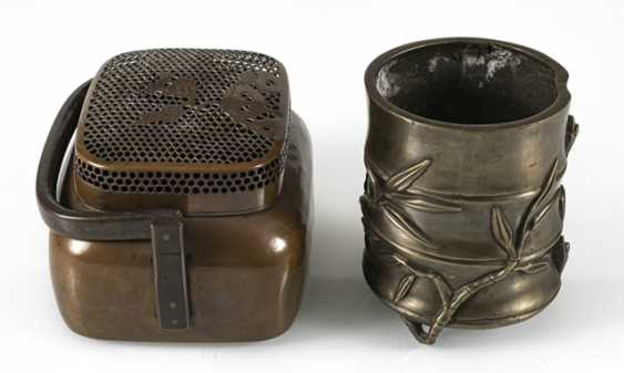 Hand-warmer made of copper, and paint cups in the shape of a bamboo segment from Bronze - photo 3
