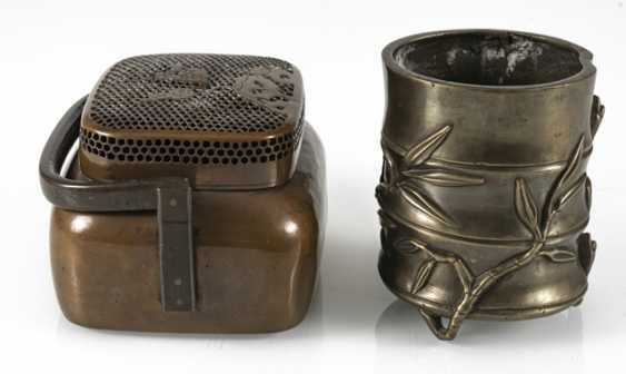 Hand-warmer made of copper, and paint cups in the shape of a bamboo segment from Bronze - photo 4