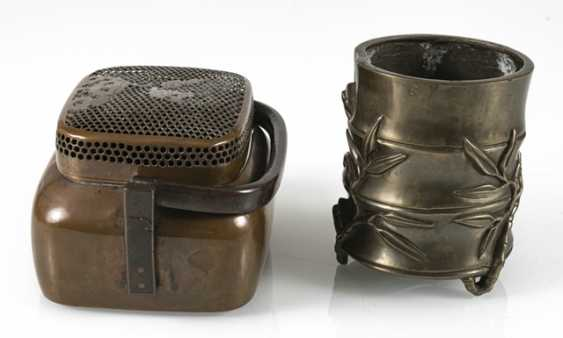 Hand-warmer made of copper, and paint cups in the shape of a bamboo segment from Bronze - photo 5