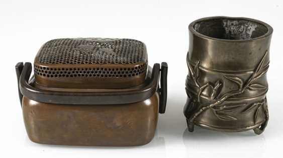 Hand-warmer made of copper, and paint cups in the shape of a bamboo segment from Bronze - photo 6