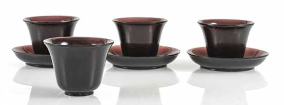 Four cups and three saucers violet transparent Peking glass - photo 1