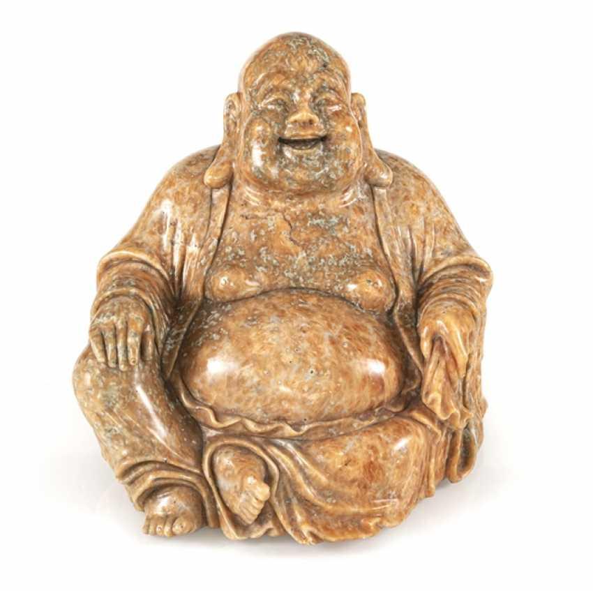 Figure of the seated Budai from orange Jasper - photo 1