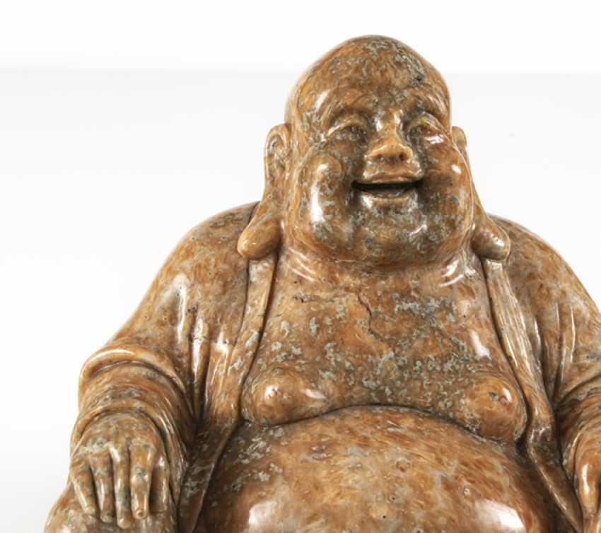 Figure of the seated Budai from orange Jasper - photo 4