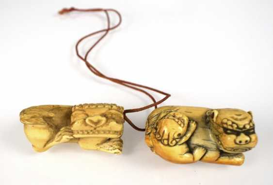 Three Toggles and two pendants, including ivory and wood - photo 3