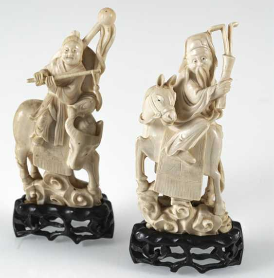 Group of six Immortals on their animals carved riding in ivory - photo 5