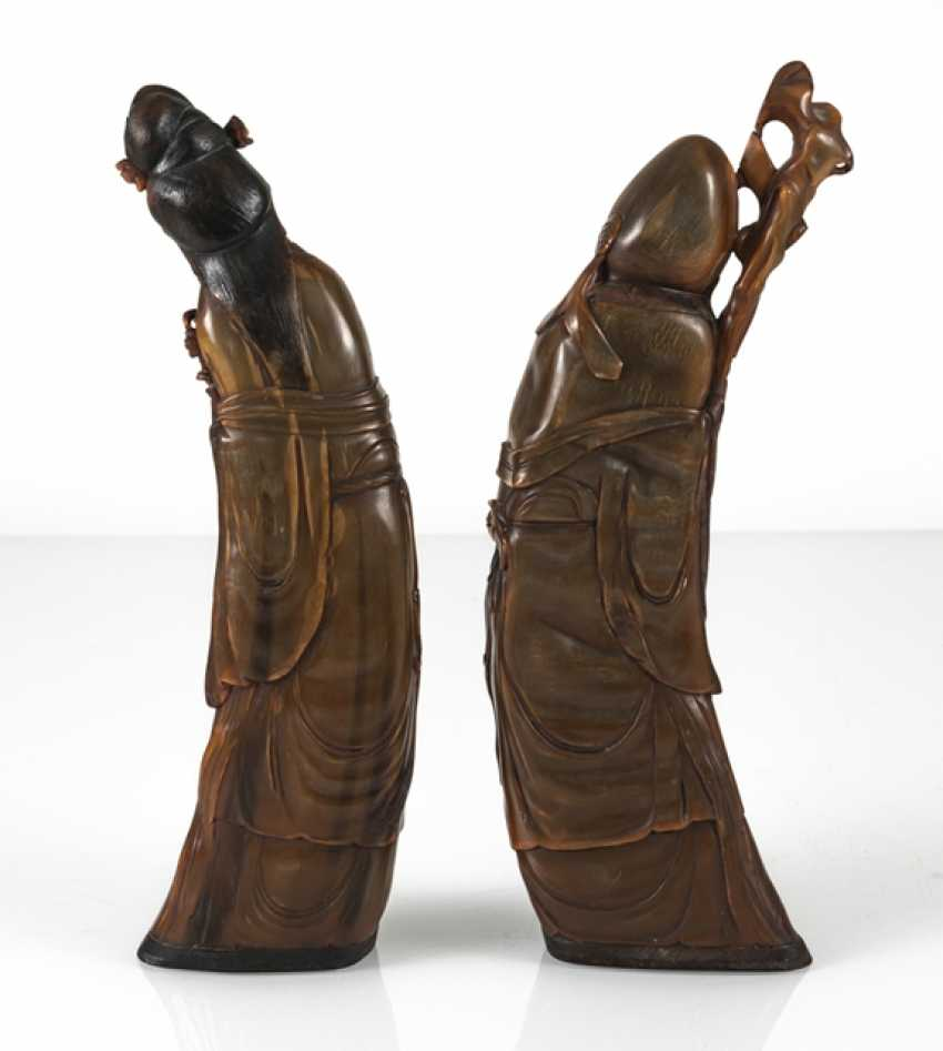 Lady with flowers and Shoulao from orange-brown Buffalo horn carved - photo 4