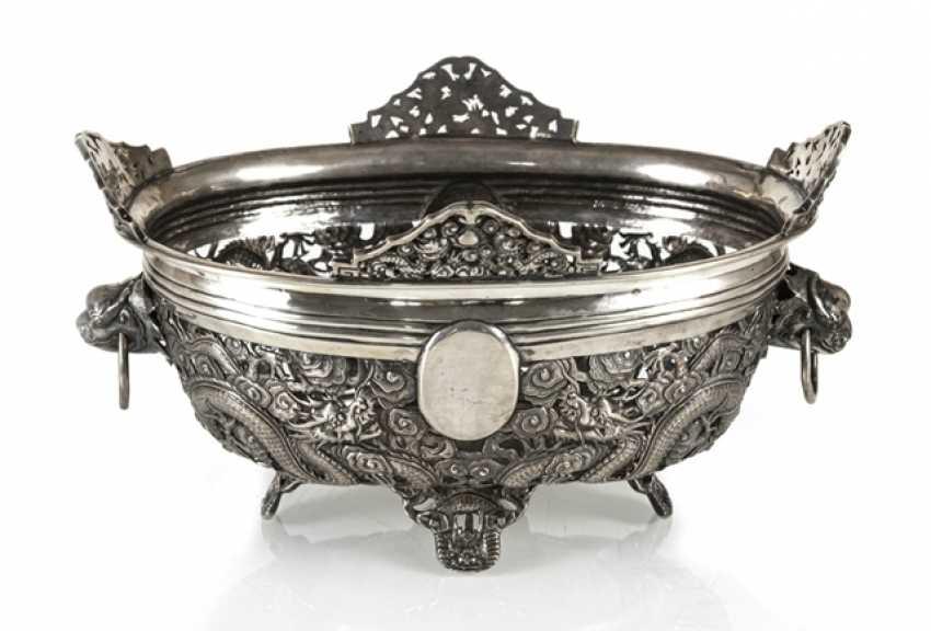 Пробит кованая чаша из серебра с драконом Декор и Voalkartuschen - фото 1